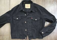 RARE Vintage Levi's Size M 71163 02 Black Denim Jean SHORT Jacket Rock Punk VGC