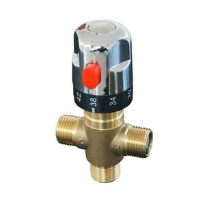 Water Temperature Control Brass G1/2 Male Thermostatic Mixing Valve Shower Y0H8