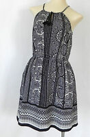 BeBop Dress Halter Black/White Polyester Flared Size s