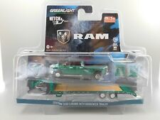 Greenlight MIJO Hitch&Tow 2018 Ram 3500 Laramie Gooseneck Trailer Green Machine