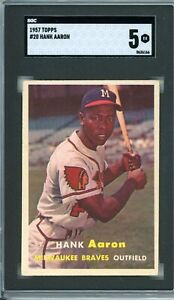 """1957 Topps HANK AARON #20  SGC Graded 5 EX-Cond. """"No RESERVE INVEST"""""""
