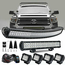 """For 2007-2018 Toyota Tundra/Sequoia 50.5"""" Curved LED Light Bar+4"""" Pods +22"""" Lamp"""