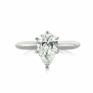 1.00 Ct Diamond Engagement Wedding Ring 14K Solid White Gold Rings Pear Size 6 5