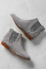 Bobbies Womens La Feerique Suede Glitter Booties Boots Grey 5 New