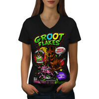 Wellcoda Groot Flakes Comic Womens V-Neck T-shirt, Cereal Graphic Design Tee