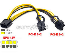 EPS CPU 12V 8 Pin to Dual 8 (6+2) Pin PCIE Adapter Power Supply Cable