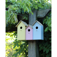 Triple 3 in 1 Wooden Nesting Wild Bird Box House Small Birds Robin Modern NEST2