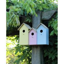 Triple 3 in 1 Wooden Nesting Wild Bird Box House Small Birds Robin Modern NEST2