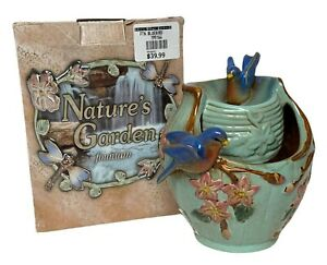 NEW Natures Garden Tabletop Water Fountain w/ Bluebirds, Teal Color, Sm. Stones