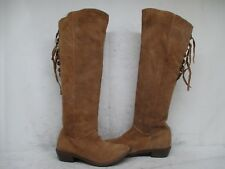 NAUGHTY MONKEY Brown Suede Leather Zip Lace Knee High Riding Boots Size 6