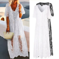 Summer Women Kaftan Lace Short Sleeve See Through Party Club Dresses Long Dress