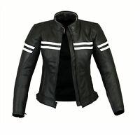 Womens Impact Leather Motorbike Protection Jacket Ladies Motorcycle Jacket