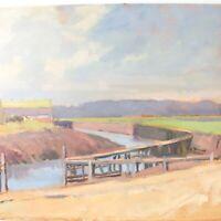 English School oil painting landscape river buildings impressionist 20th century