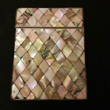 Mother of Pearl Abalone Card Case Working Latch and Hinge Complete Antique