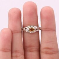 Citrine Gemstone Ring Size 8 925 Solid Sterling Silver Handmade Indian Jewelry