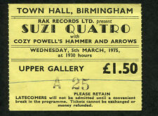1975 Suzi Quatro Cozy Powell concert ticket stub Birmingham UK Stumblin In