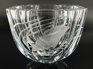 Rare FABERGE Sea Shell Engraved Lead Crystal Bowl Vase Artist SIGNED Numbered LE