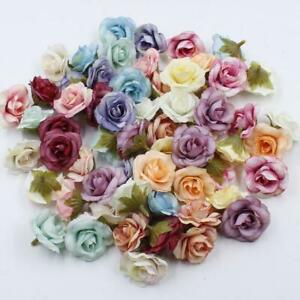 10pcs 4cm Silk Rose Artificial Flower Wedding Leaves Decoration Items Wreath DIY