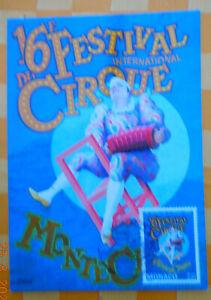 ZIRKUS AK Circus Festival 16e Monte Carlo 1992 mit Sondermarke