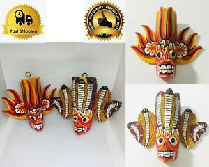 Ceylon Traditional Hand Carved Wooden Wall Hanging Décor Colorful Devil Sculptur