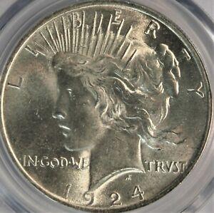 1924-P Peace Dollar. PCGS MS64. Bright White. Choice for Grade. Looks Gem.