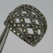 Brand New Stunning Sterling Silver Marcasite Band Ring (Size Q)-5.5 grams