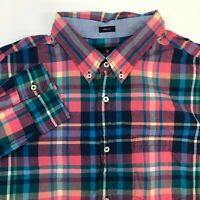 American Eagle Button Up Shirt Mens XXL Multicolor Plaid Long Sleeve Casual