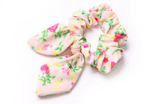 Blush Pink Girls Scrunchie Delicate Floral Pattern&Wired Bow Everyday Wear(S622)