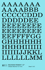 K4 G Decals Black 1/2 Inch Railroad Roman Letter Number Alphabet Set
