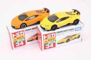 Tomy TOMICA No.34 Lamborghini Huracan 1st Scale 1/66 2X SET Diecast toy car