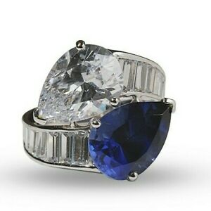 Blue White Pear 925 Sterling Silver Baguette By pass Party Fine Ring for Women