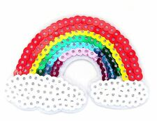 Sequin Rainbow Iron On Patch- Peace Badge Hippy Gift Embroidered Applique