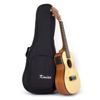 Solid Spruce Electric Acoustic Concert Ukulele Uke Hawaii Guitar 23 Inch W/Bag