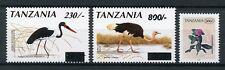 Tanzania 2004 MNH Birds Revalued  & New Flower Definitives 3v Set Stork Stamps