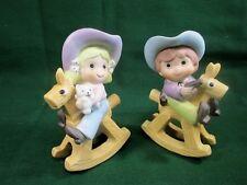 Vintage Cowboy Cowgirl Rocking Horse Figurine Homco 1417 J1