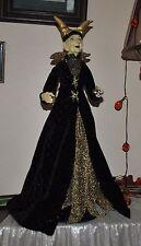 NEW ELEGANT WITCH doll Halloween VAMPIRE DRESS STANDING FIGURE BALL BLACK/GOLD
