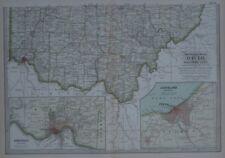 Original 1897 Map Southern OHIO Marietta Dayton Cincinnati  Columbus + Cleveland