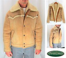 VTG RARE! OVERLAND SHEEPSKIN CO. SHEARLING COAT JACKET SUEDE MEN'S SIZE 38 R S M