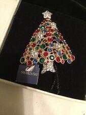 Signed Swan Swarovski 1999 Christmas Tree Brooch Pin