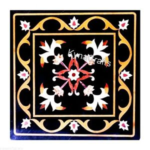 Floral Pattern Coffee Table Top Black Marble Bed Side Table for Hotel 15 Inches