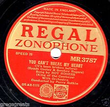 """VERY RARE ROY ROGERS 78 """" YOU CAN'T BREAK MY HEART/YOU SHOULD KNOW """" MR 3787 EX-"""
