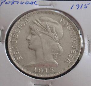 Portugal - 1 Escudo - 1915 - Silver  -  VF