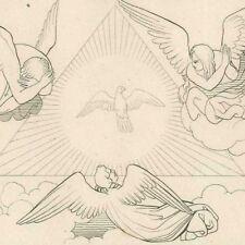 Dans le paradis Dante Divine comédie - John Flaxman gravure 19e