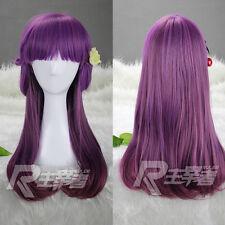 Harajuku Lolita Womens Wig Long Straight Curly Hair Purple Ombre Cosplay Wig