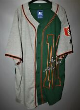 VINTAGE STARTER MIAMI HURRICANES BASEBALL JERSEY ADULT XL GREEN GRAY THROWBACK