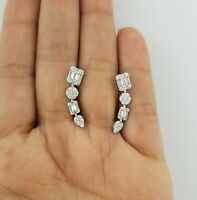 14K White Gold Baguette & Round Diamond Climber Ear Crawler Earrings