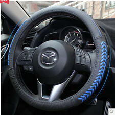FIT FOR 2013 2014 2015 MAZDA 3 AXELA STEERING WHEEL GLOVE COVER LEATHER BLUE