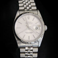 Rolex Datejust Mens Stainless Steel 18K White Gold Quickset Jubilee Silver 16234