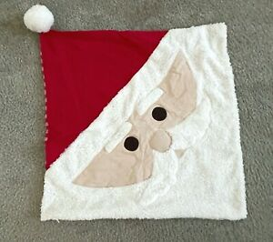 "POTTERY BARN KIDS Sherpa Santa Pillow Cover 20"" Sq Red White CHRISTMAS NWT"