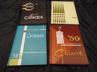 """4 year Set 1956-1959  WASHINGTON STATE UNIVERSITY yearbooks """"Chinook"""" MidCentury"""